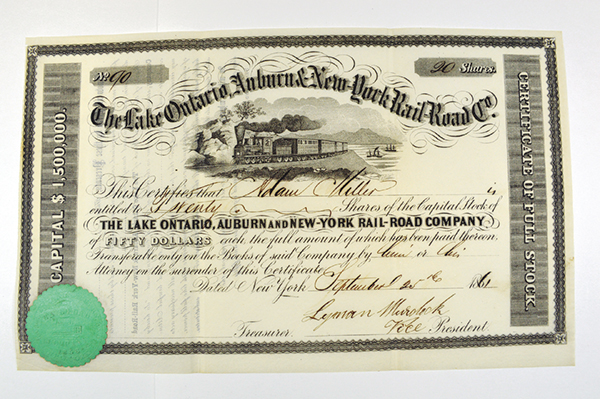 Lake Ontario, Auburn & New York Rail Road Co. 1861.