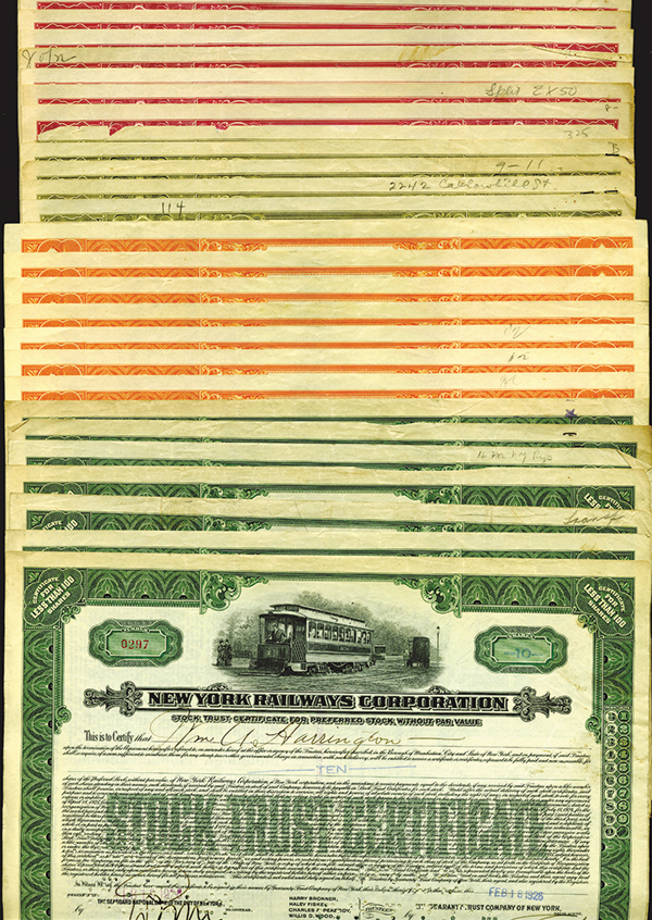 New York Railways Stock Certificate Grouping. 30+ Pieces.