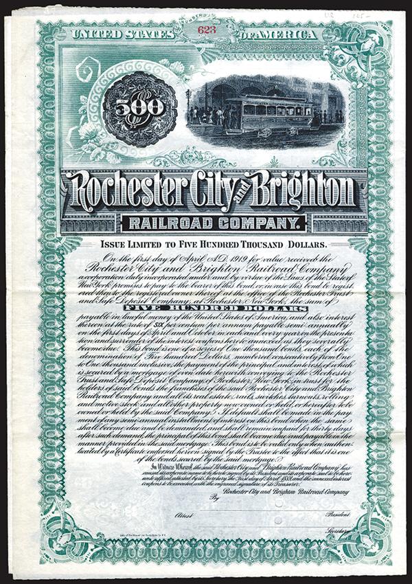 Rochester City and Brighton Railroad Co., 1889 Specimen Bond.