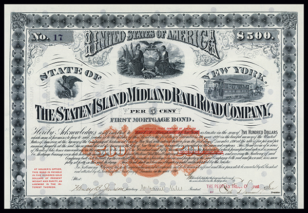 Staten Island Midland Railroad Co., 1890 Issued Bond.