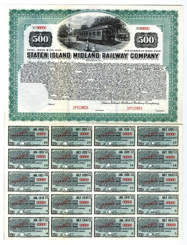 Staten Island Midland Railway Co., Series A, 1915 Specimen Bond.
