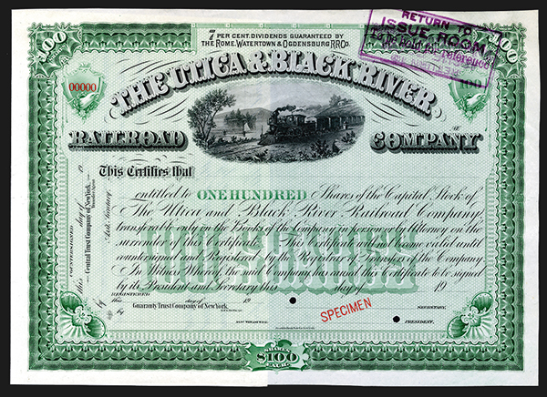 Utica & Black River Railroad Co., ca.1905 Spectacular Specimen Stock Certificate.