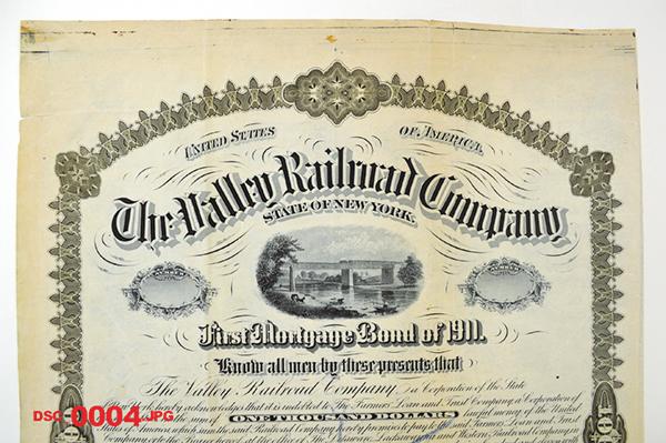 Valley Railroad Co. 1881 Specimen Bond