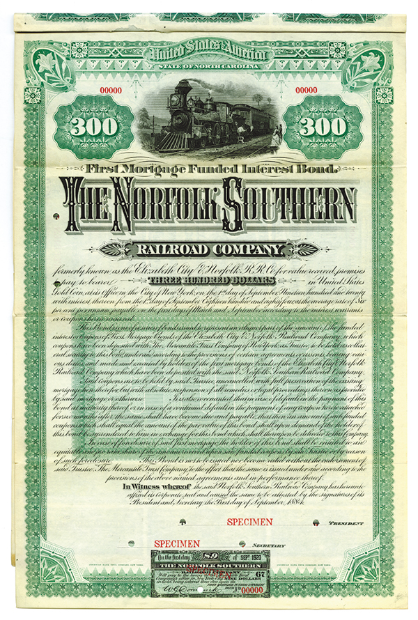 Norfolk Southern Railroad Co., 1884 Specimen