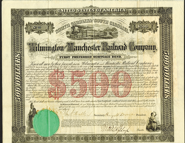 Wilmington & Manchester Railroad Co. 1866 Bond Pair.