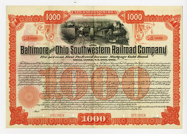 Baltimore and Ohio Southwestern Railroad Co. 1889 Specimen Bond.
