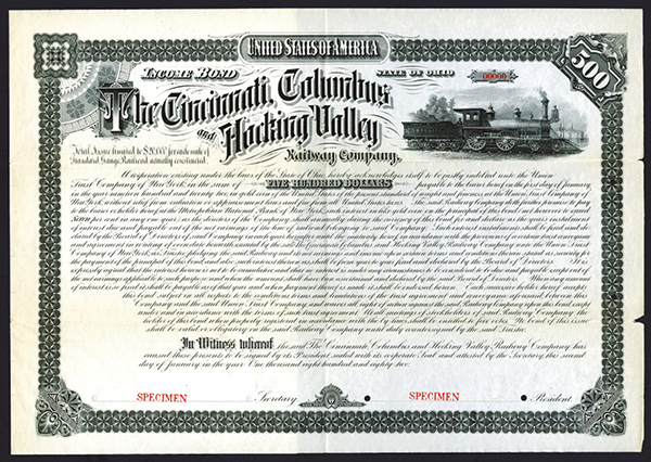 Cincinnati, Columbus and Hocking Valley Railway Co., 1882 Specimen Bond.