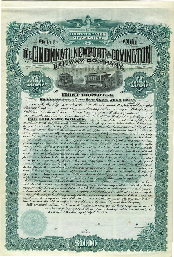 Cincinnati, Newport and Convington Railway Co., 1892 Specimen Bond