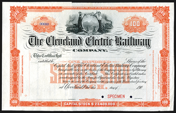Cleveland Electric Railway Co., 190x Specimen Stock Certificate.