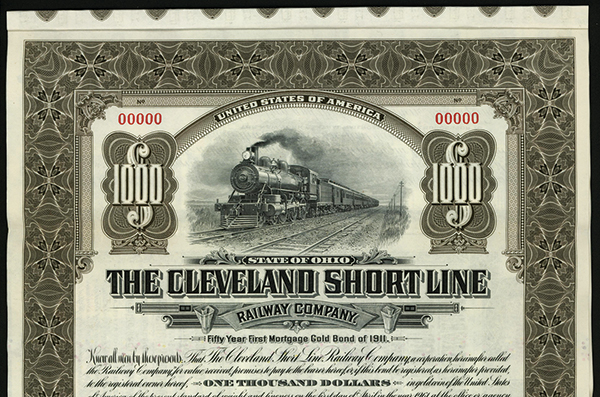 Cleveland Short Line Railway Co., 1911 Specimen Bond.