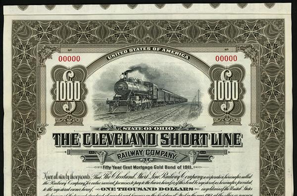 Cleveland Short Line Railway Co., 1911 Specimen Bond.