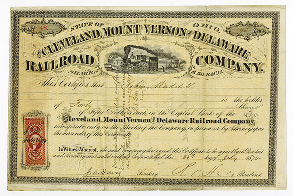 Cleveland, Mount Vernon and Delaware Railroad Company Stock Certificate