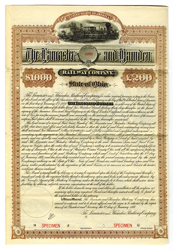 Lancaster and Hamden Railway Co., 1888 Specimen Bond.