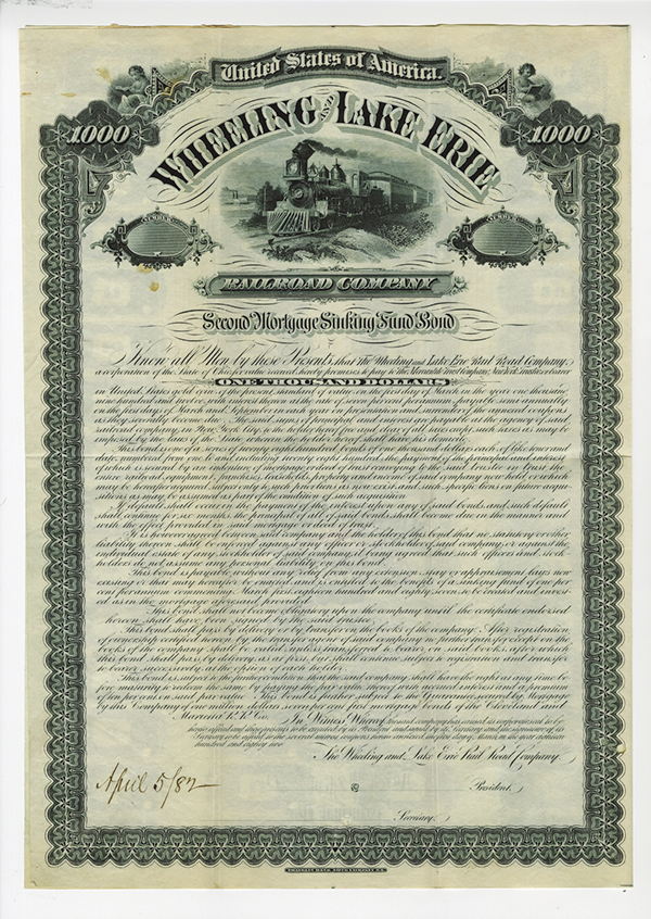 Wheeling and Lake Erie Railroad Co., 1882 Specimen Bond.