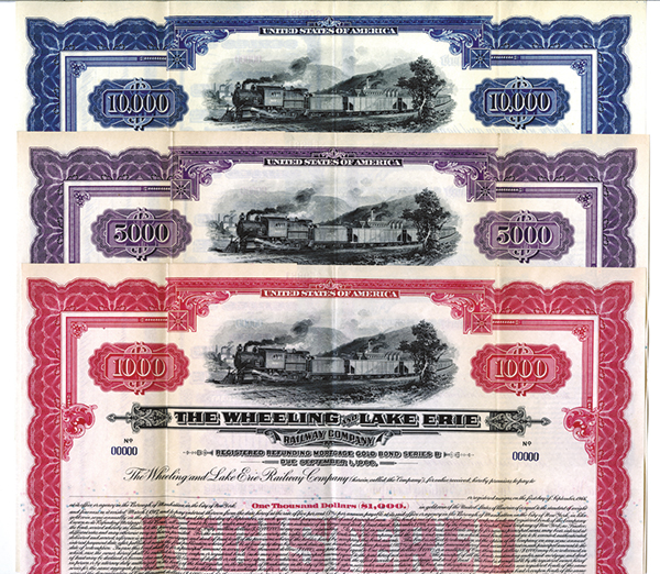 Wheeling and Lake Erie Railway Co., 1917 Specimen Registered Bond Trio.