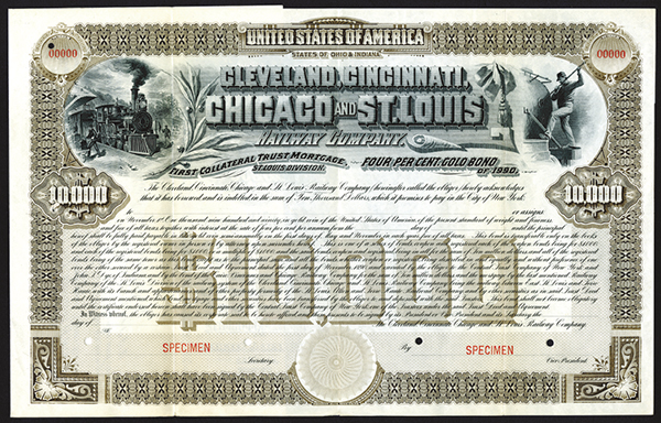 Cleveland, Cincinnati, Chicago and St. Louis Railway Co. 1890. Specimen Bond.