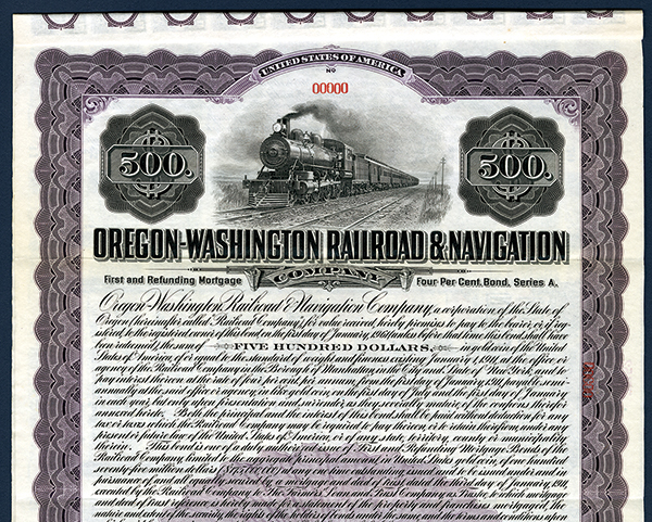 Oregon-Washington Railroad & Navigation Co., Specimen Bond.
