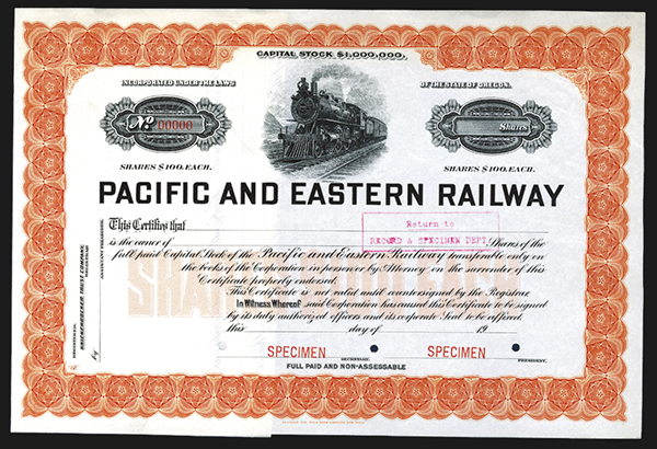 Pacific and Eastern Railway Co., ca.1900 Specimen Stock Certificate.