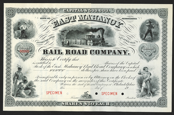 East Mahanoy Rail Road Co. ca.1900 Specimen Stock