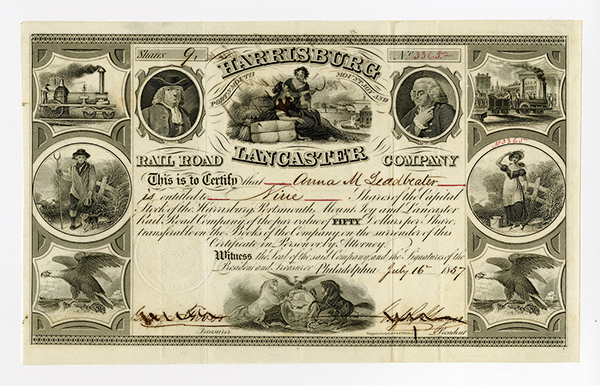 Harrisburg Portsmouth Mount Joy and Lancaster Rail Road Co. 1857 Stock Certificate.