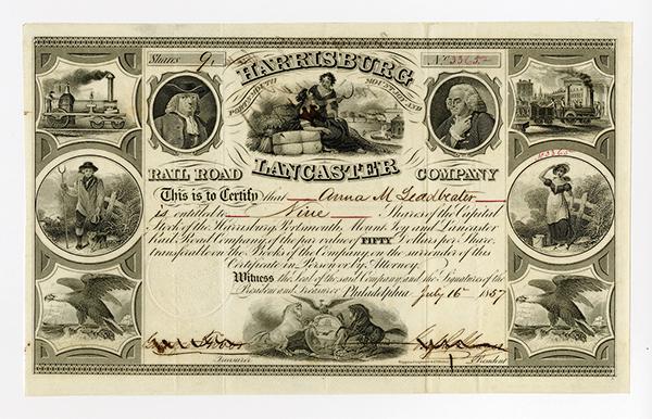 Harrisburg Portsmouth Mount Joy and Lancaster Rail Road Co. 1857 Stock Certificate.