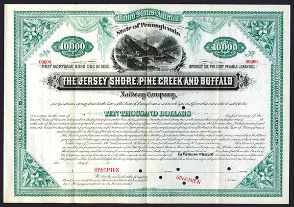 Jersey Shore, Pine Creek and Buffalo Railway Co., 1882, Specimen Bond.