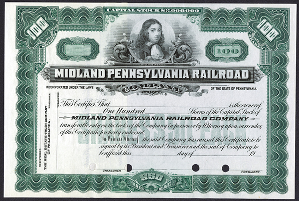 Midland Pennsylvania Railroad ca.1950 Specimen Stock