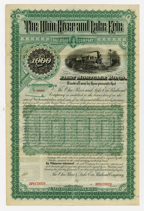 Ohio River and Lake Erie Railroad Co., 1884 Specimen Bond.