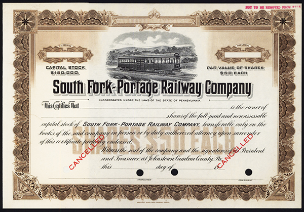 South Fork-Portage Railway Co., ca.1930-1940 Specimen Stock