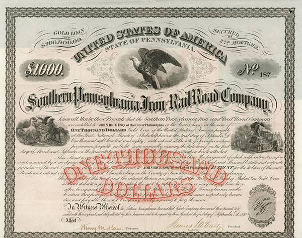 Southern Pennsylvania Iron and Rail Road Co., 1870 Issued Bond.