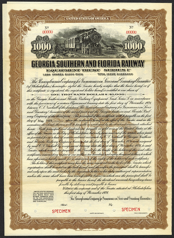 Georgia Southern and Florida Railway 1924 Specimen Bond
