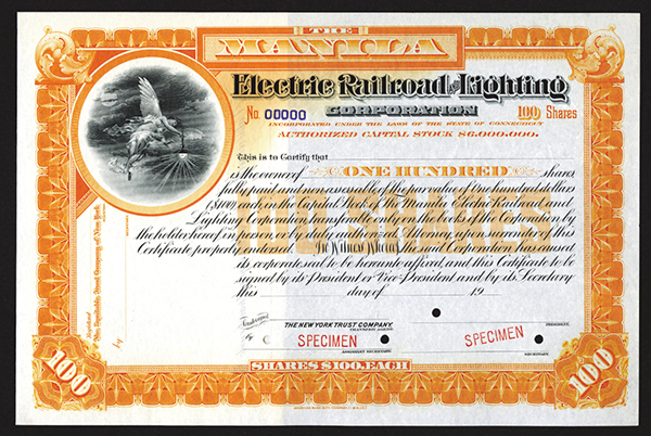 Manila Electric Railroad and Lighting Corp. ca.1900 Specimen Stock