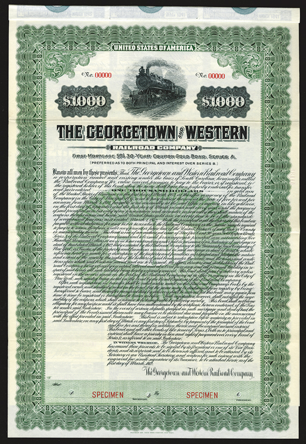Georgetown and Western Railroad Co. 1912 Specimen Bond