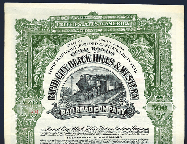 Rapid City, Black Hills & Western Railroad Co., 1909 Specimen Bond.