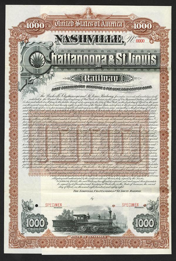 Nashville, Chattanooga and St. Louis Railway 1888 Specimen Bond