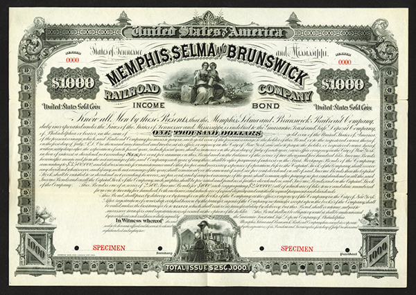 Memphis, Selma and Brunswick Railroad Co., 1882 Specimen Bond