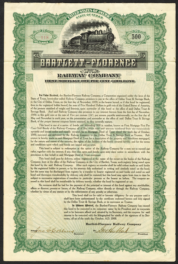 Bartlett- Florence Railway Co. 1909, Issued Bond