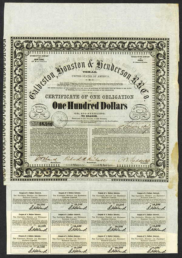 Galveston, Houston and Henderson R.R. Co., Issued Stock and Bond Certificates.