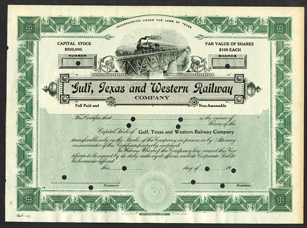 Gulf, Texas and Western Railway Co., ca.1908 Specimen Stock Certificate.