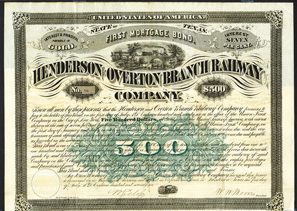 Henderson & Overton Branch Railway Co., 1876 Issued Bond.