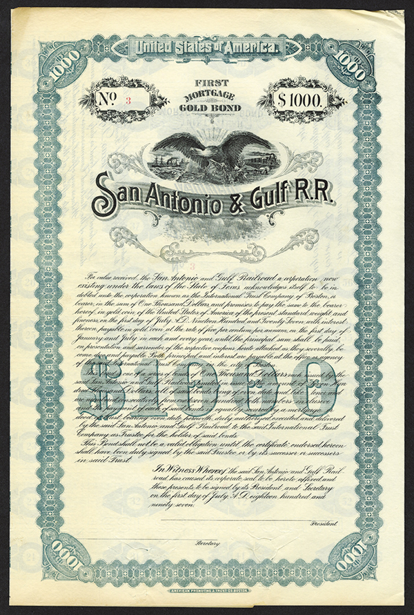 San Antonio and Gulf R.R. 1897, Bond