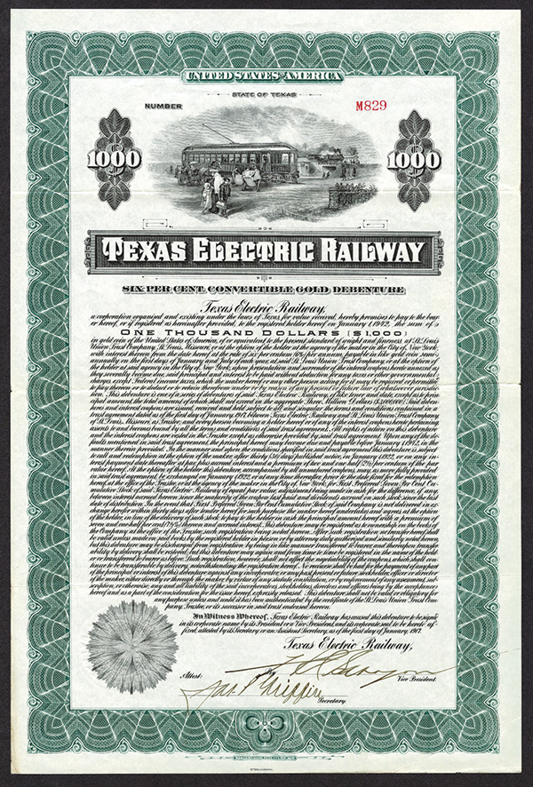 Texas Electrical Railway. 1917, Issued Bond