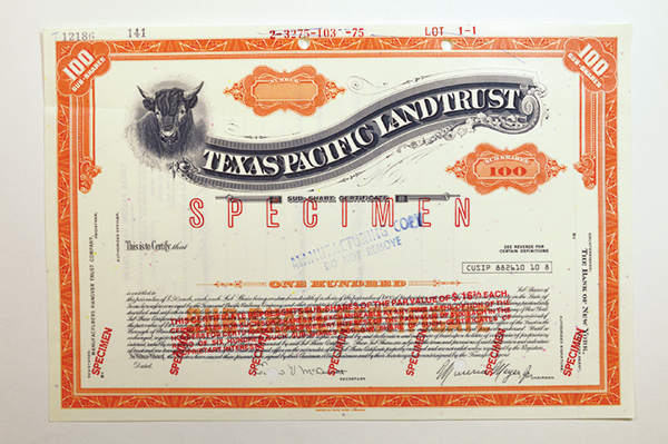Texas Pacific Land Trust. 1975 Specimen Stock