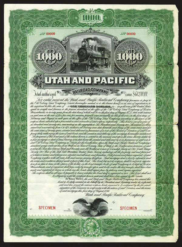 Utah and Pacific Railroad Co., Specimen Bond.