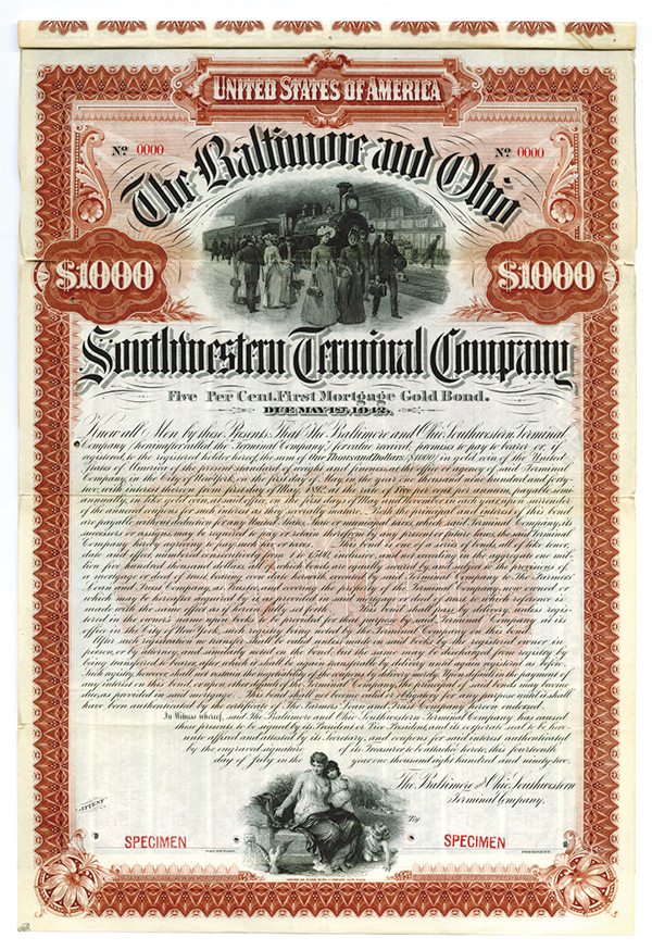 Baltimore and Ohio Southwestern Terminal Co., 1892 Specimen Bond.