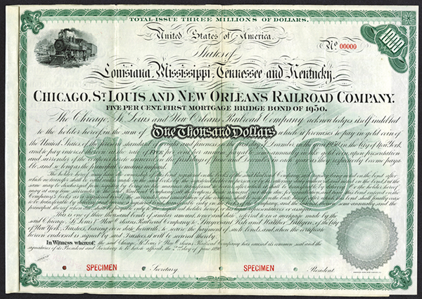 Chicago, St.Louis and New Orleans Railroad Co., 1890 Specimen Bond.