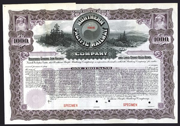 Northern Pacific Railway Co., 1896 Specimen Bond.