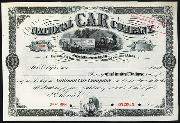National Car Co., ca.1920-1930 Specimen Stock.