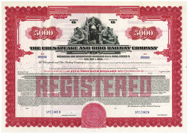 Chesapeake and Ohio Railway Co., 1928 Specimen Bond.