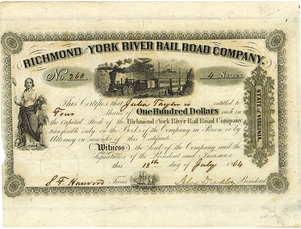 Richmond and York River Rail Road Co., 1864 Issued Stock Certificate.